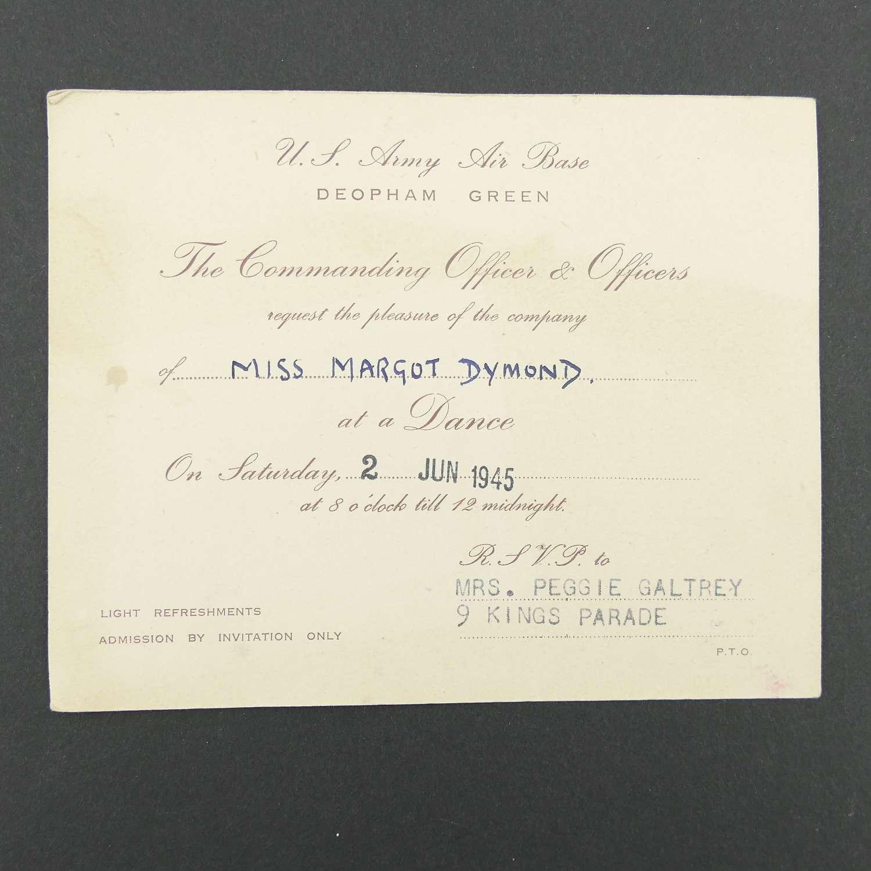 USAAF Deopham Green dance invitation c. 1945