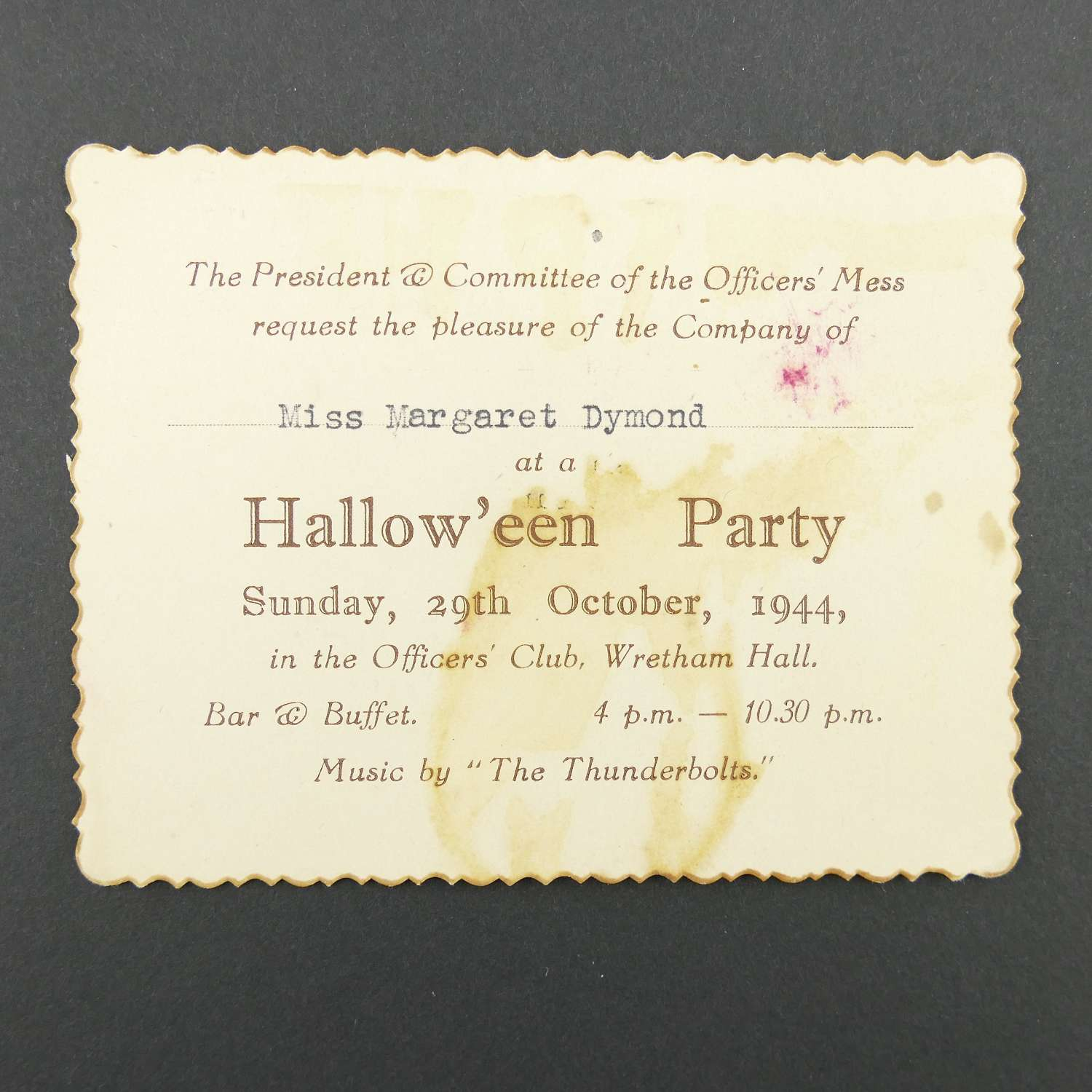 USAAF Halloween party invitation, 1944