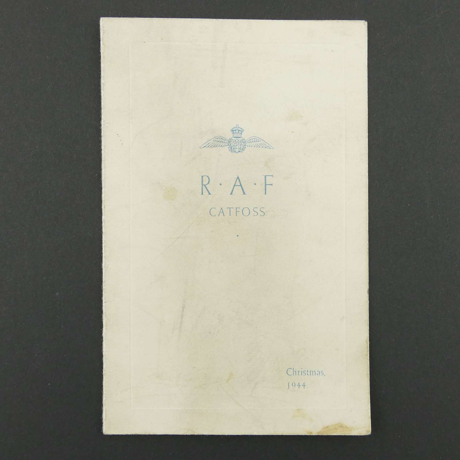 RAF Catfoss Christmas card/menu, 1944
