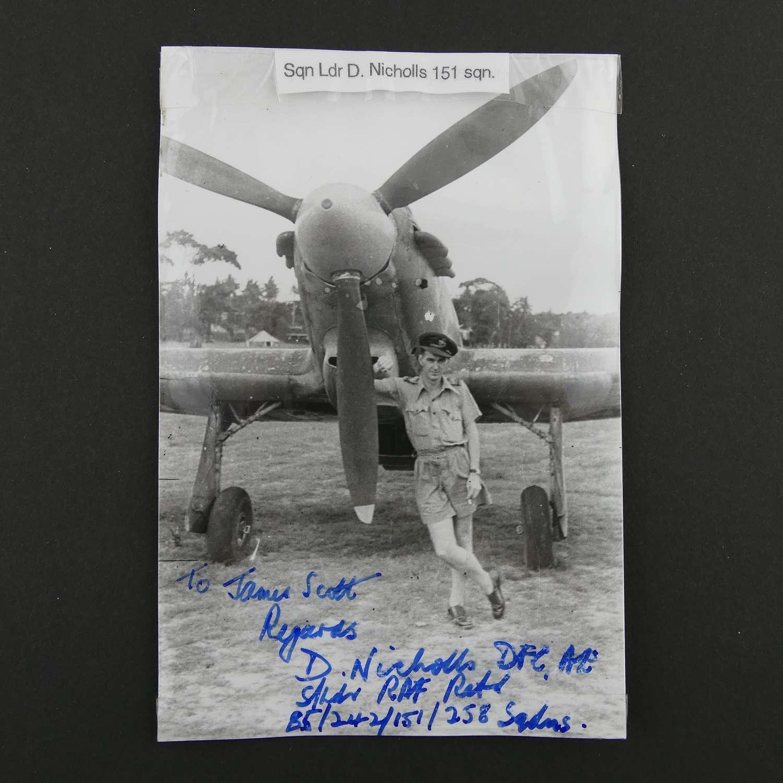 Signed photograph - Squadron Leader D. Nicholls DFC
