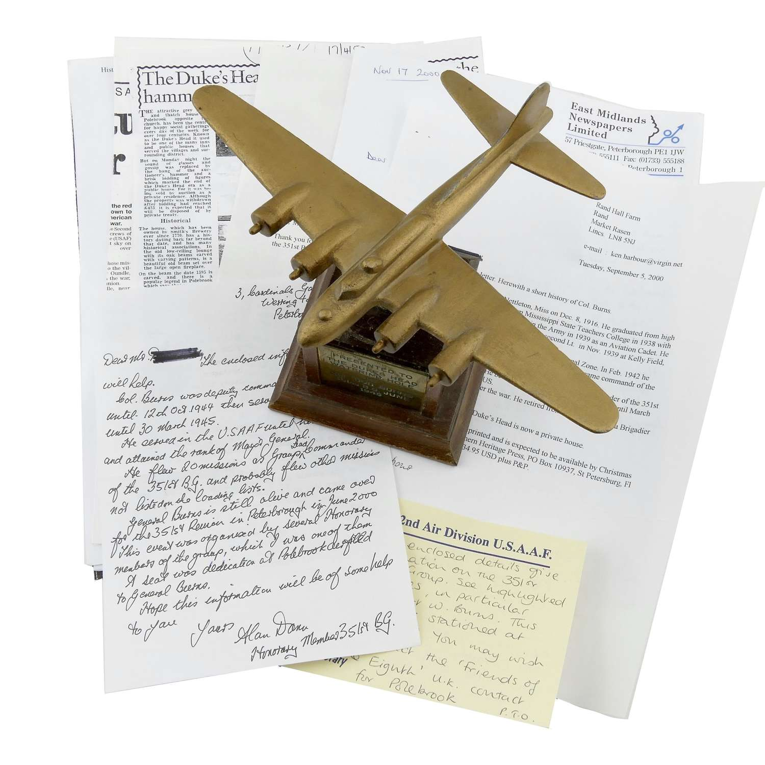 USAAF B-17 model  - with supposed Polebrook, 351st Bomb Group history