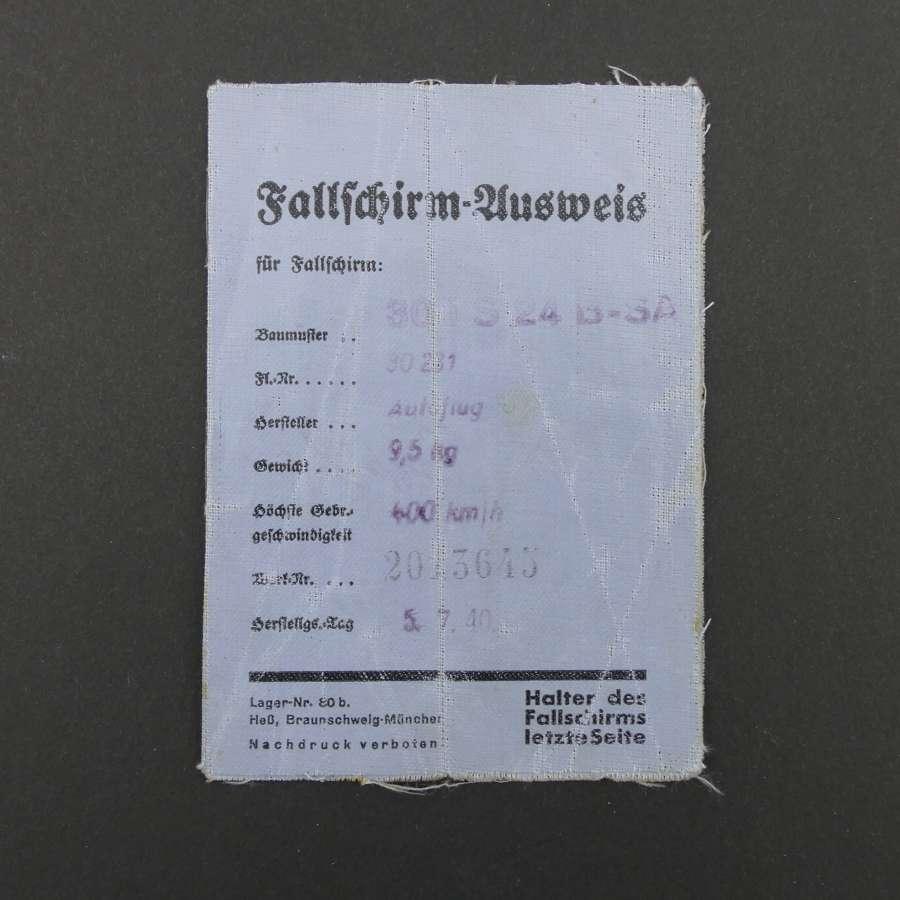 Luftwaffe parachute logbook - Battle of Britain history