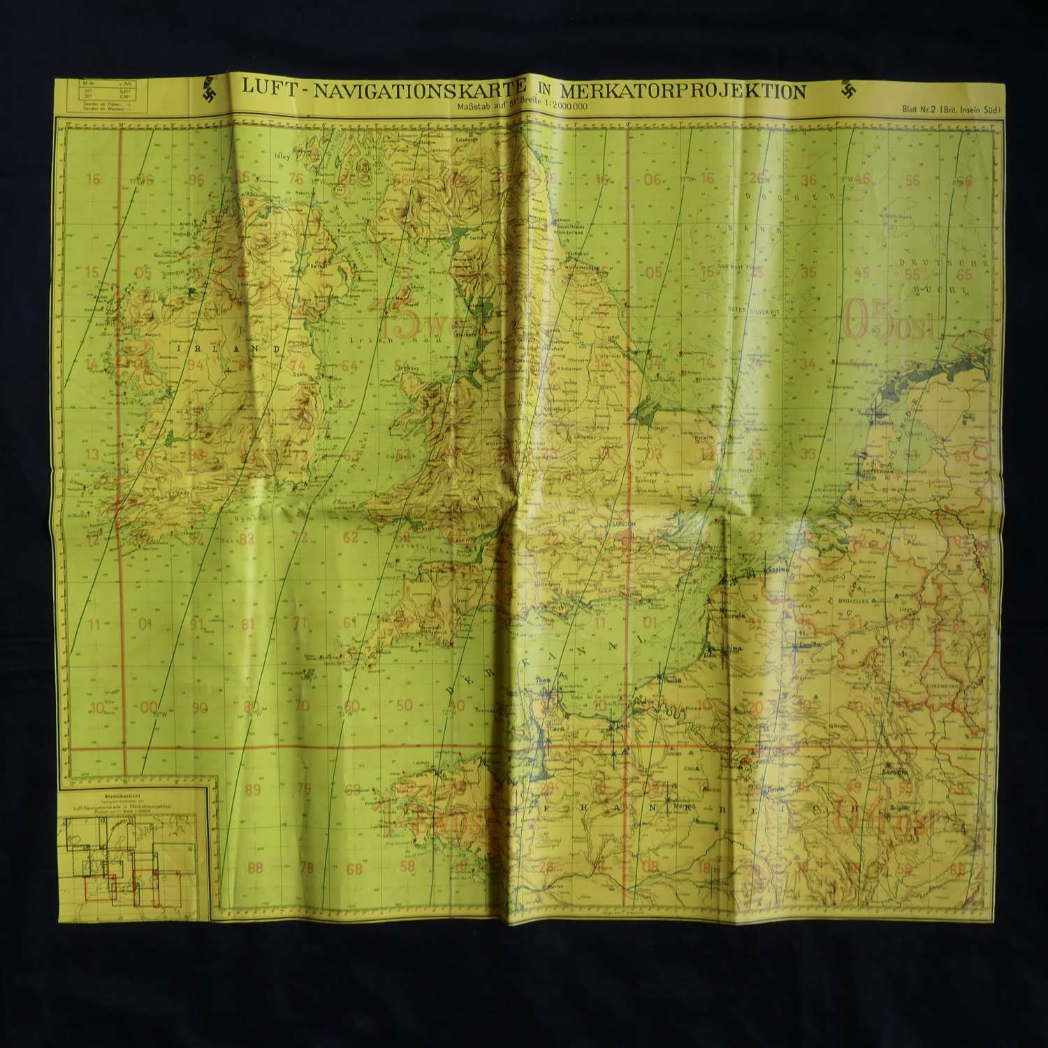 Luftwaffe navigation map of Britain,  KG30 history