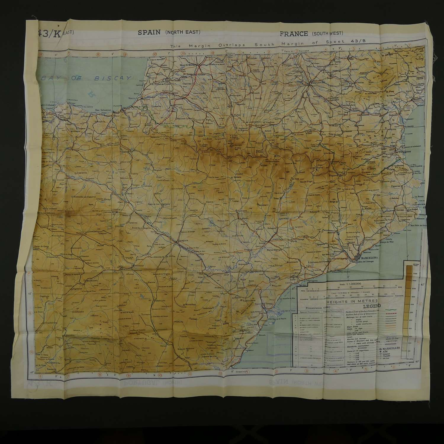 RAF escape & evasion map, sheet 43JK, European