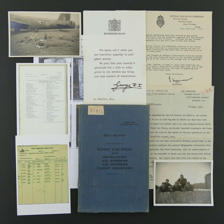 RAF air gunner's log book/paperwork, 622 Squadron, KIA