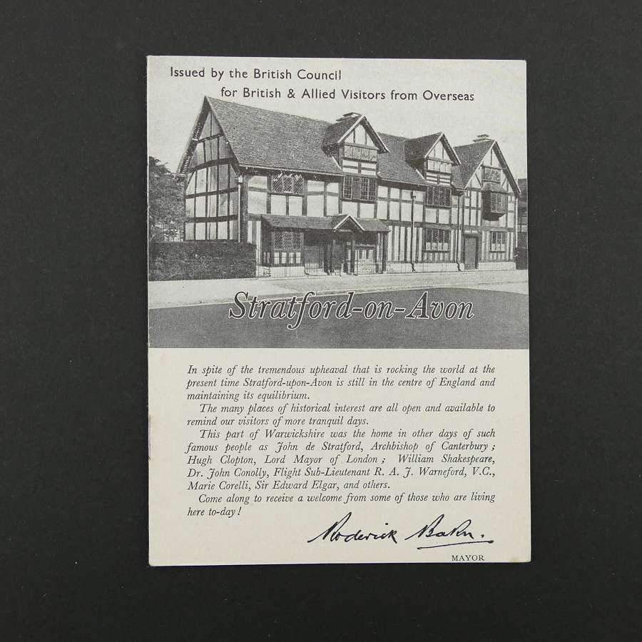 Guide to Stratford on Avon for visitors during WW2