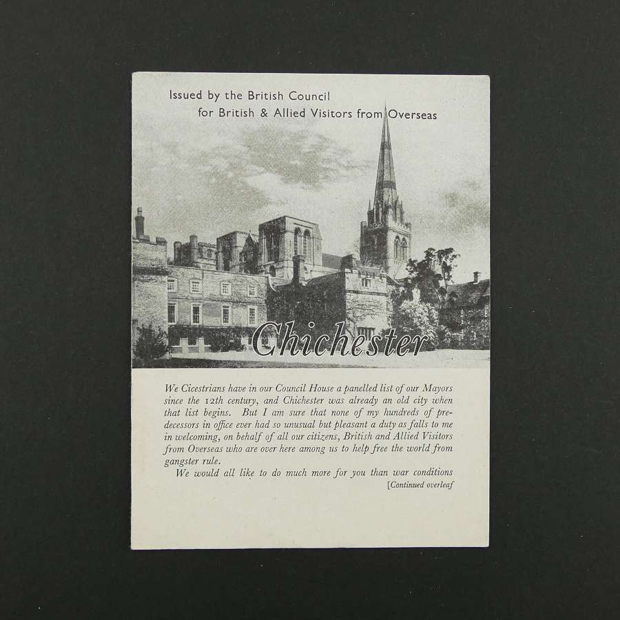 Guide to Chichester for allied visitors during WW2