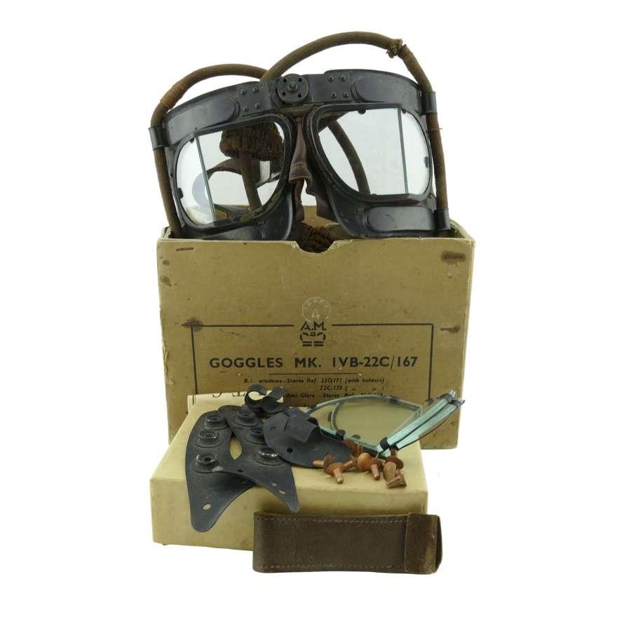 RAF Mk.IVB flying goggles & spares, boxed