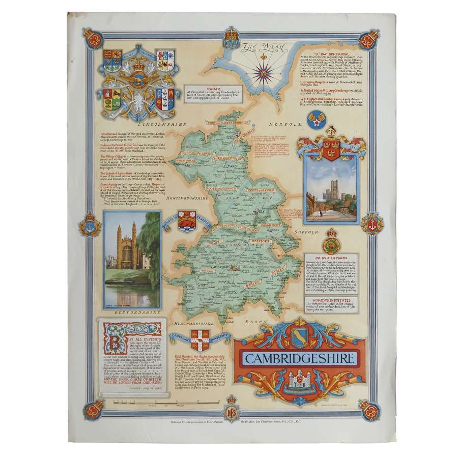 Home Front poster / map of Cambridgeshire