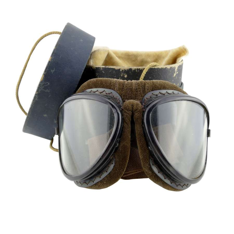 Japanese flying goggles, cased