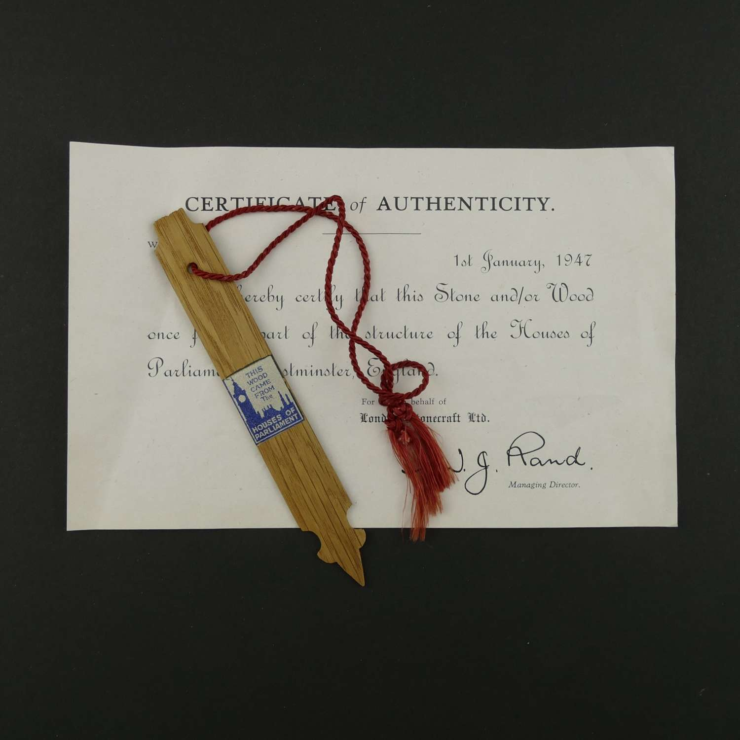 Bookmark made from the wreckage of the Houses of Parliament
