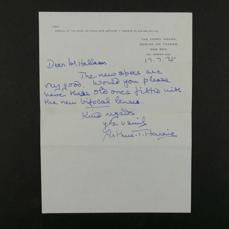 Sir Arthur T Harris hand signed letter