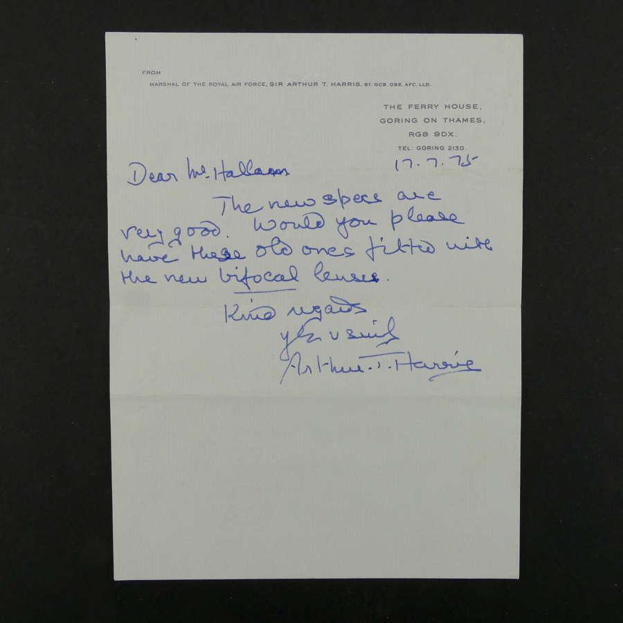 Sir Arthur T Harris hand signed letter