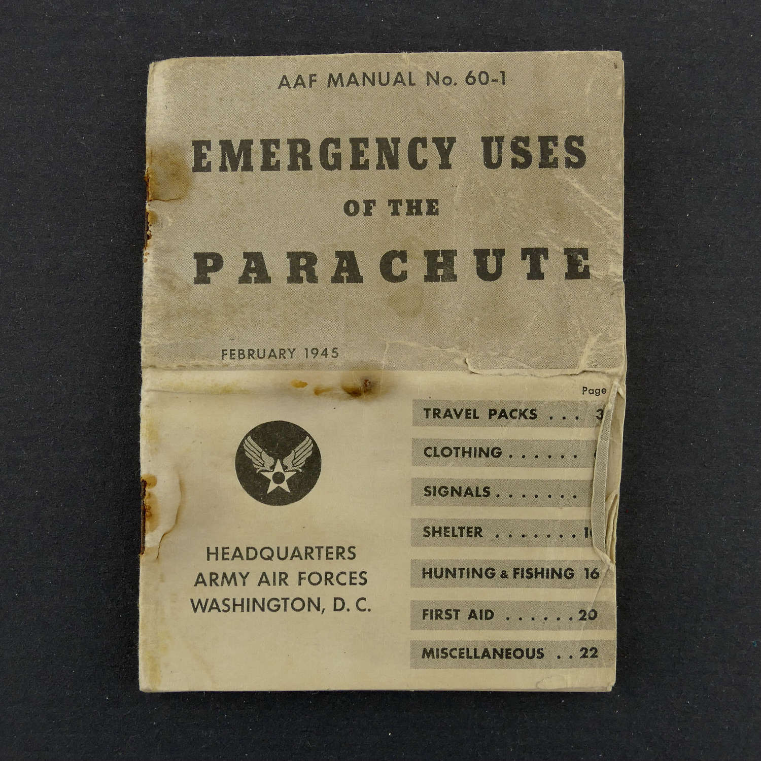 USAAF emergency uses of parachute booklet