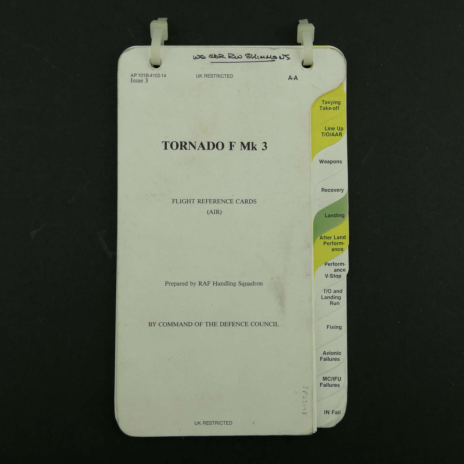 RAF flight reference cards, Tornado F Mk.3, Air