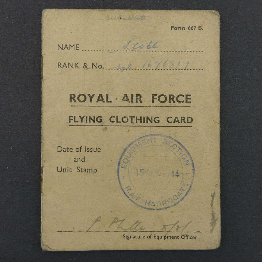 RAF flying clothing card