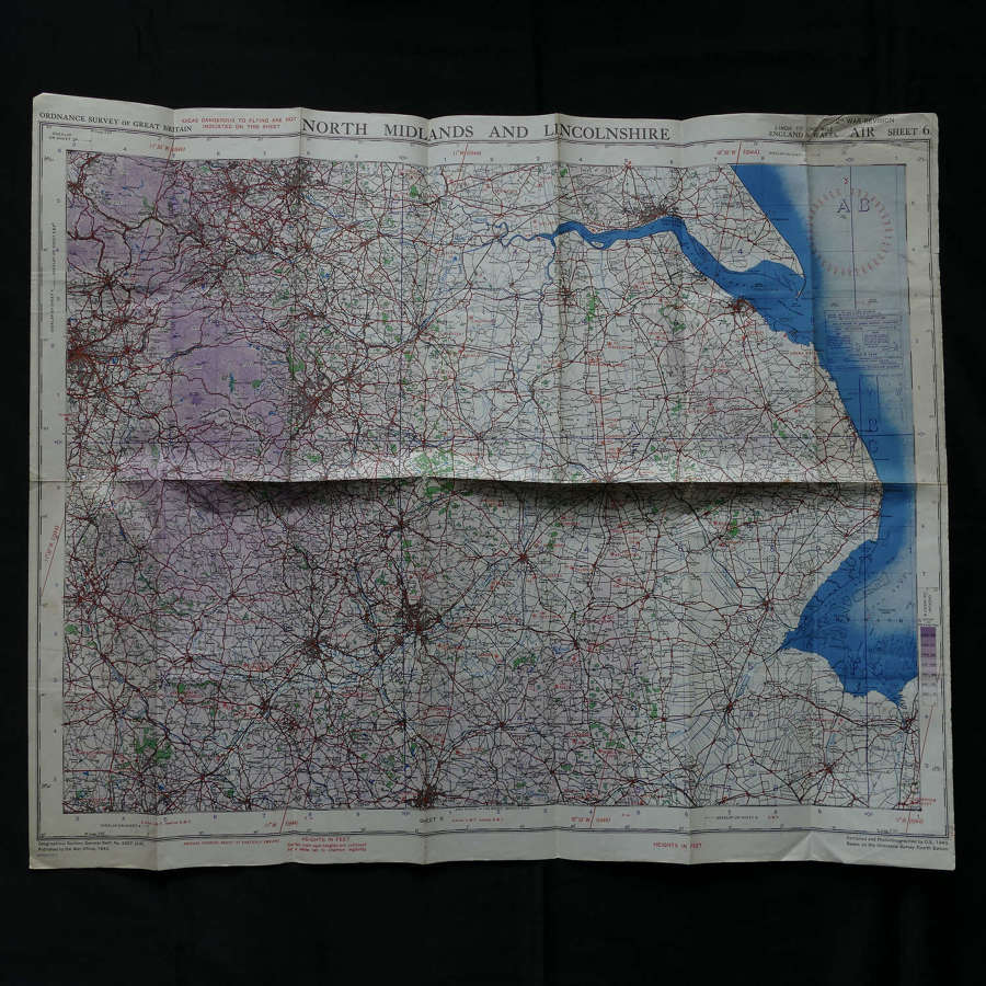 RAF flight map, North Midlands & Lincolnshire
