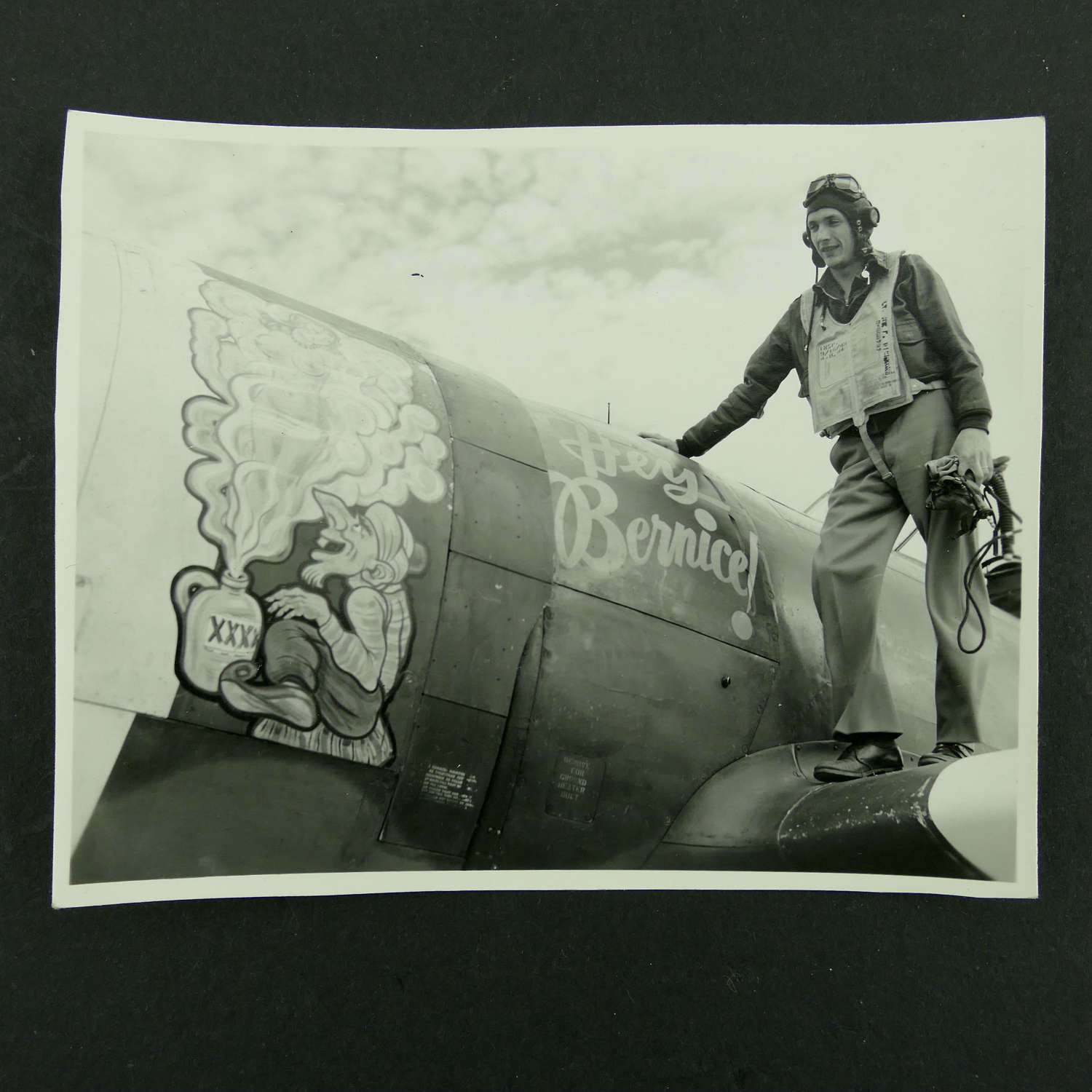 USAAF 9th AAF 366th Fighter Group nose art photo - 'Hey Bernice!