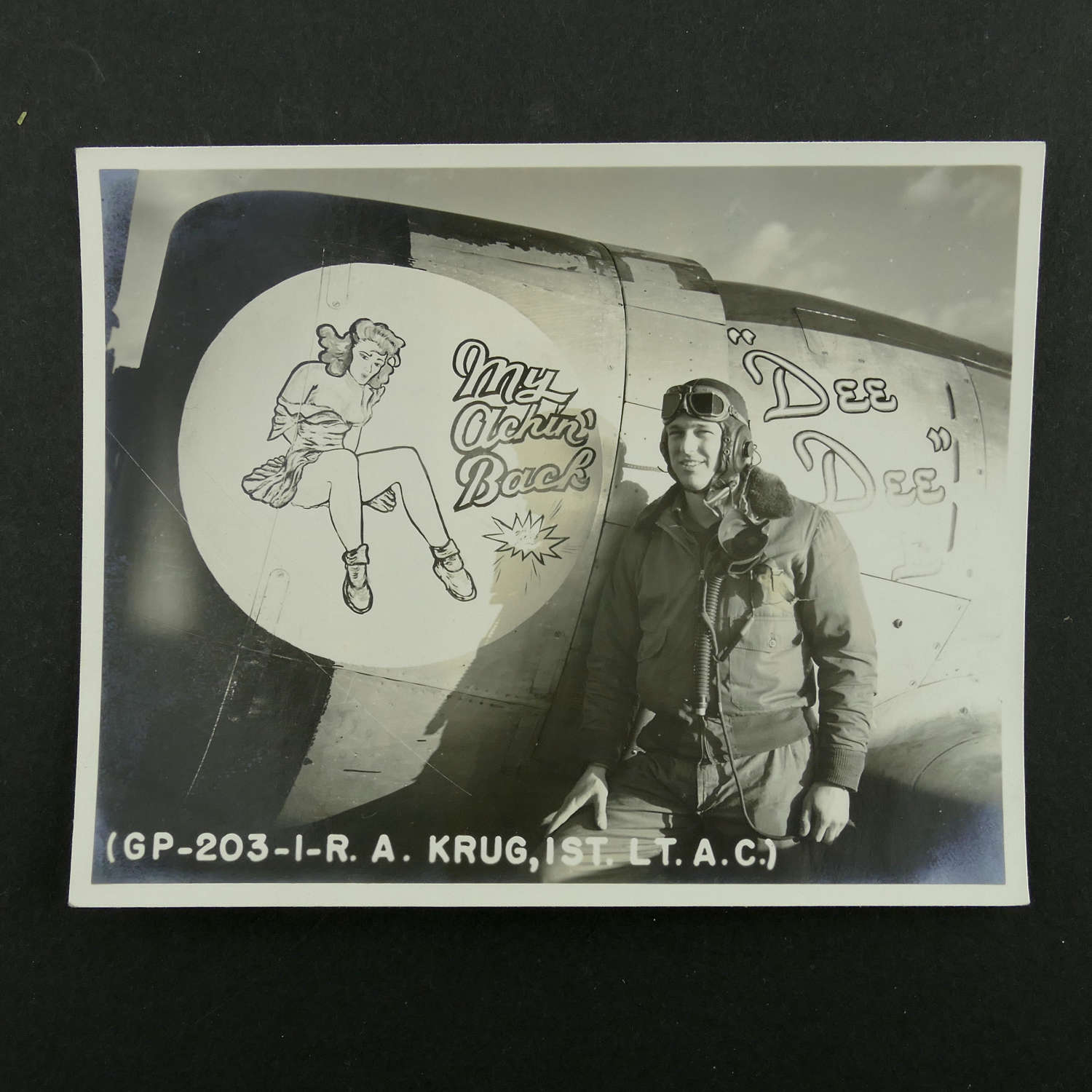 USAAF 9th AAF 366th fighter group nose art photo, 'Dee Dee'