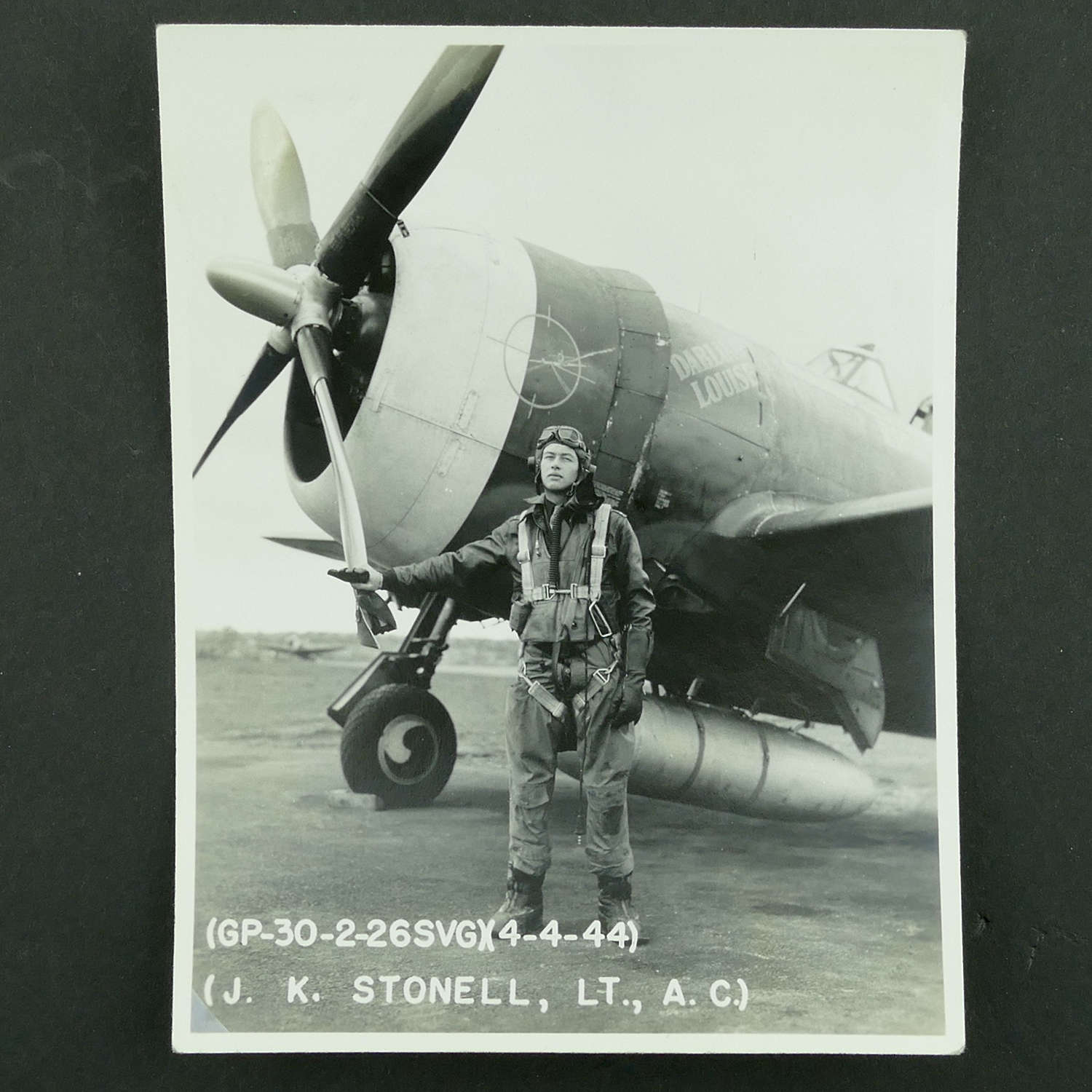 USAAF 9th AAF 366th Fighter Group nose art photo - 'Darling Louise'