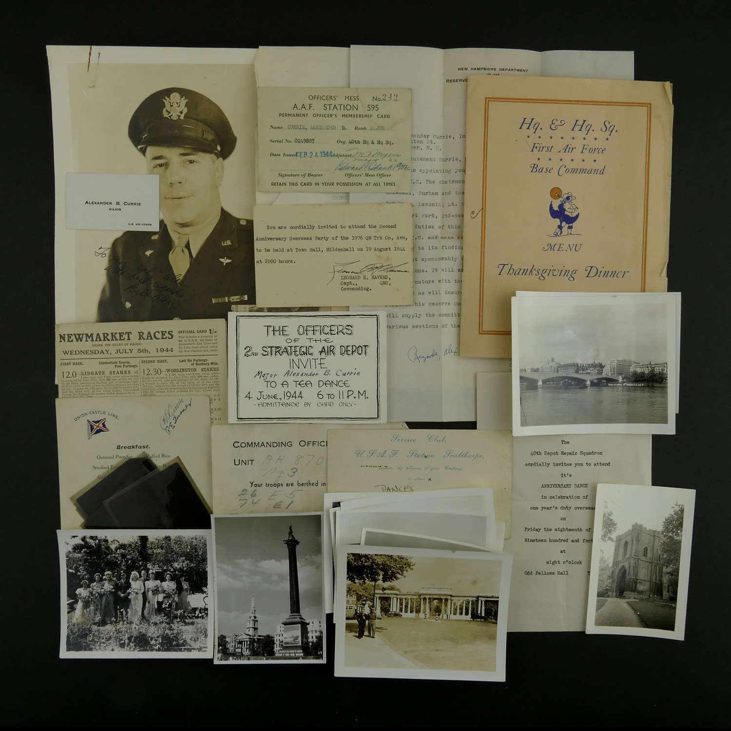 USAAF paperwork grouping to an 8th AAF officer