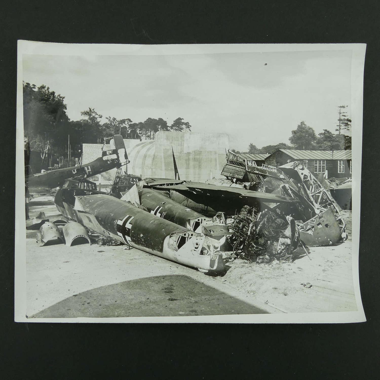 Press photo - captured Nazi planes...