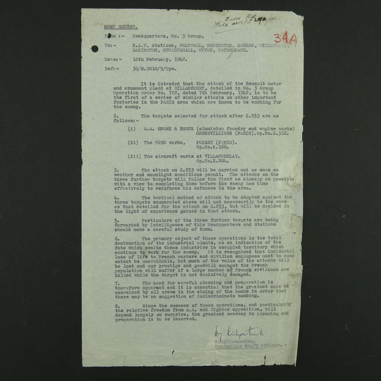RAF bomber command secret raid order, 1942