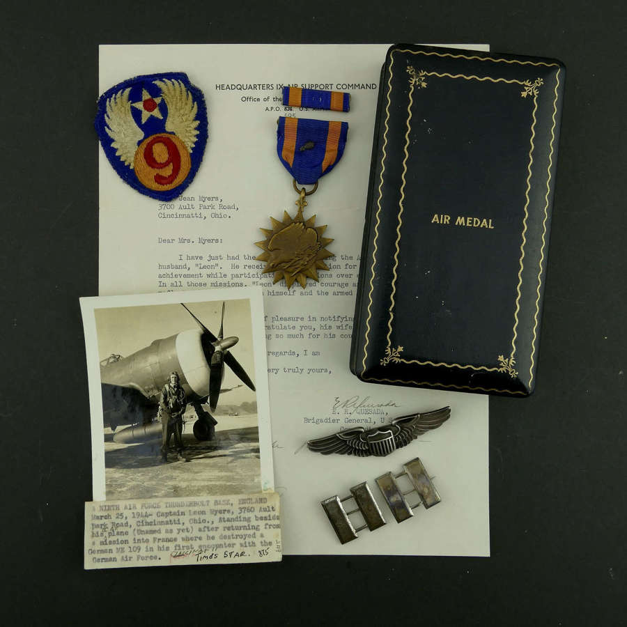 USAAF 9th AAF fighter pilot Air Medal grouping - KIA