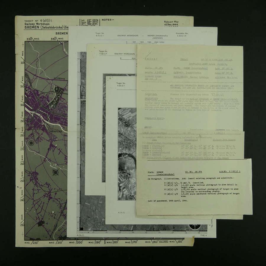 RAF Bomber Command raid briefing documents - Bremen