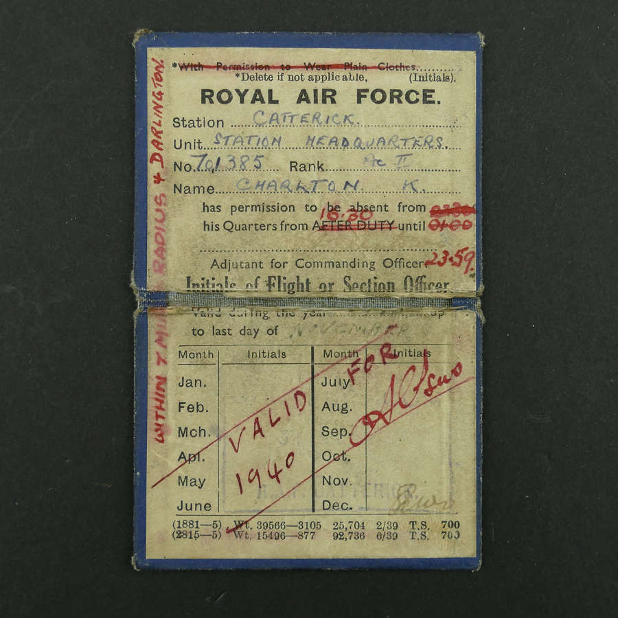 RAF Permanent Pass, 1940