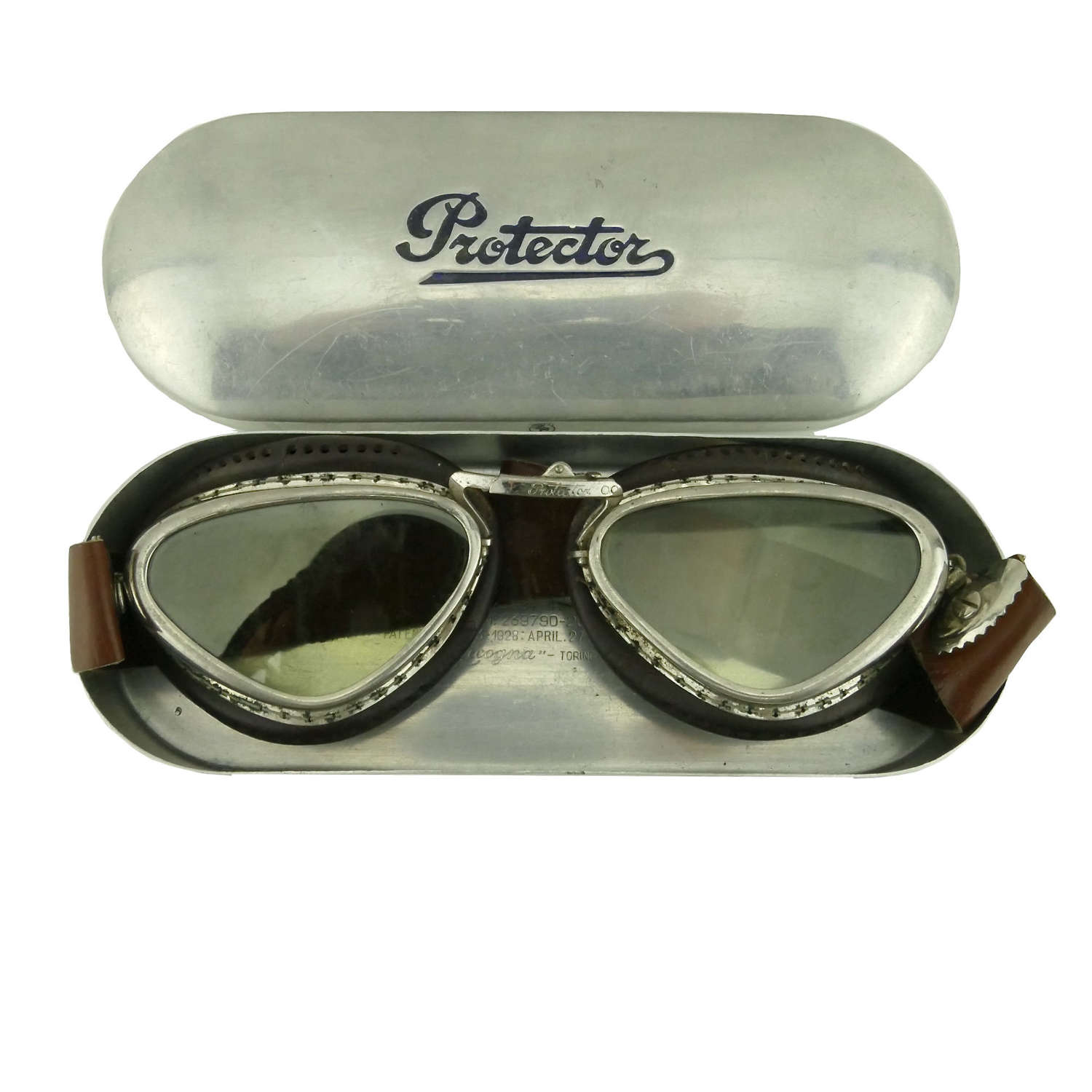 Italian 'Protector' flying goggles, cased