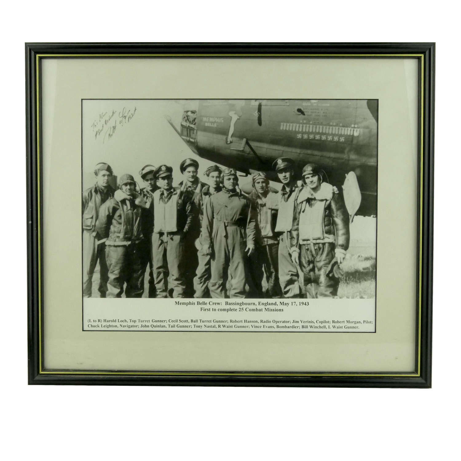 Photograph of the Memphis Belle signed by the pilot