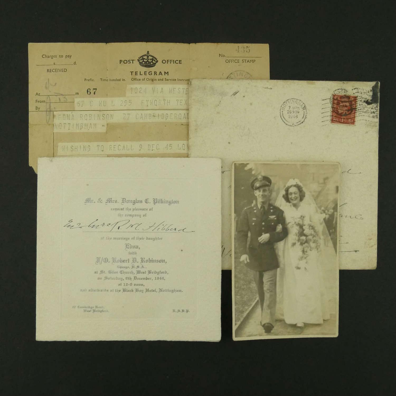 USAAF wedding photo/invitation - Nottingham, England