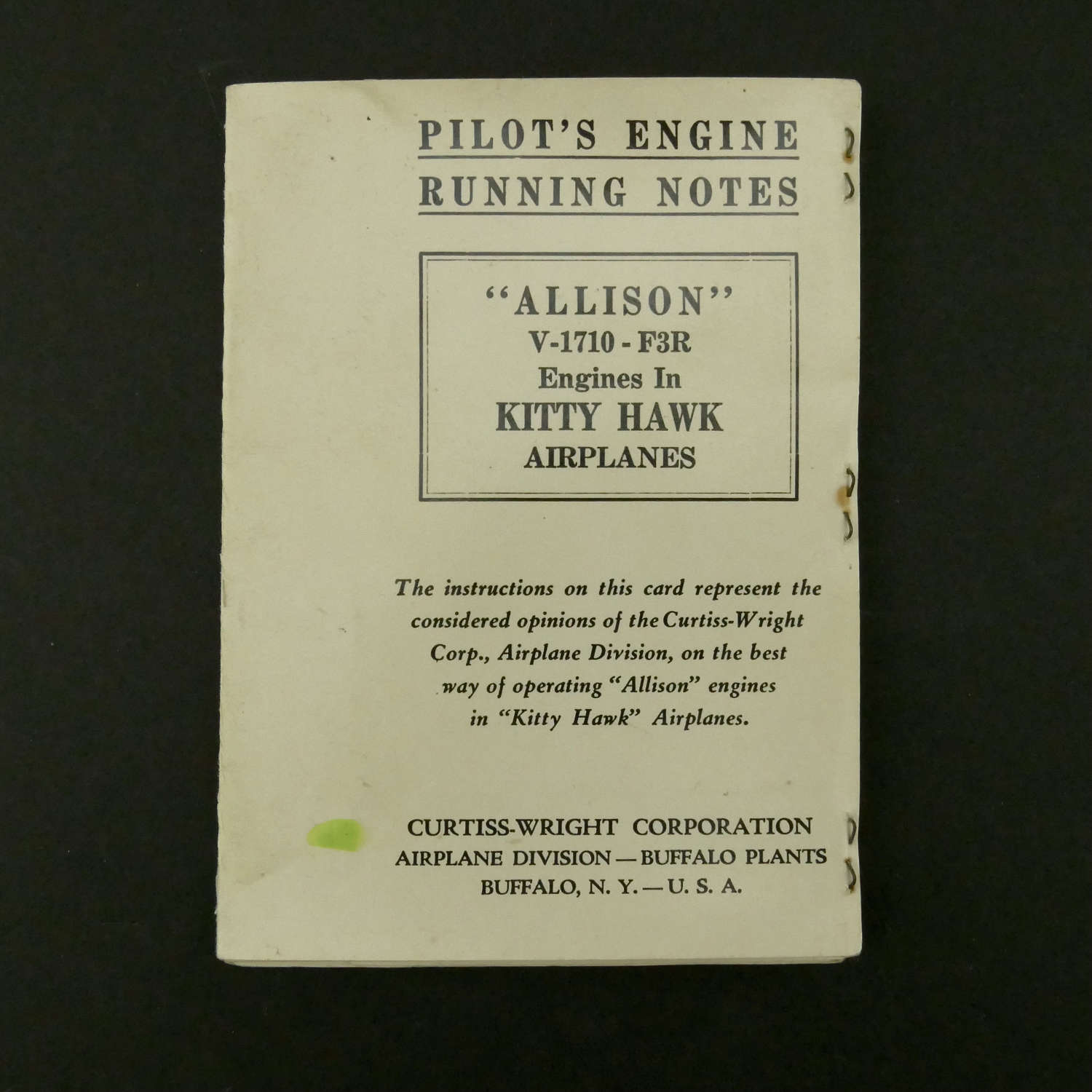 USAAF Pilots engine running notes for the Kitty Hawk