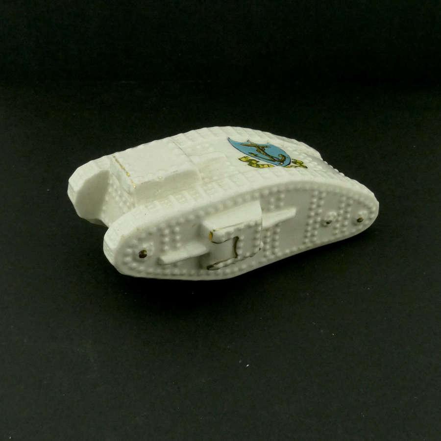WW1 crested china tank - St. Leonards