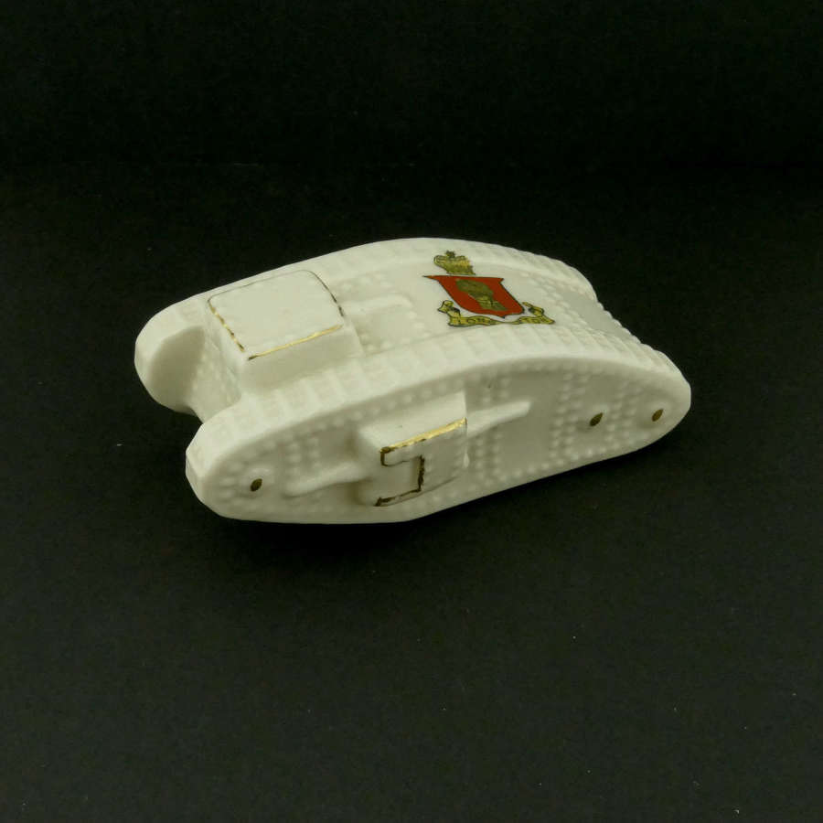WW1 crested china tank - Long Sutton
