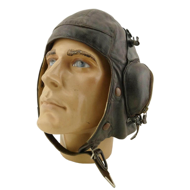 RAF B-type flying helmet c/w goggle plates