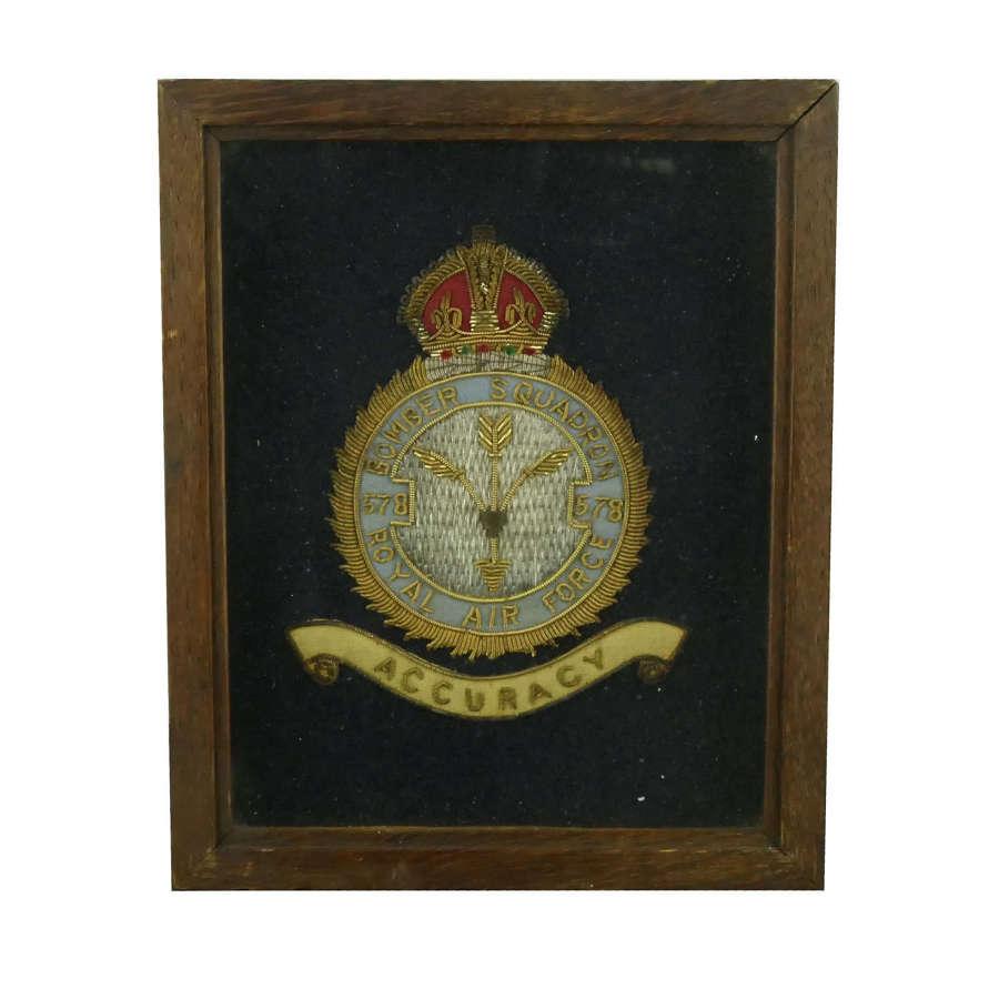 RAF 578 squadron badge, framed